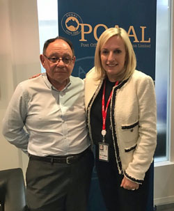 POAAL's Bob Chizzoniti with Australia Post CEO/MD Christine Holgate at the POAAL National Office