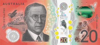 The serial number side of the new $20 banknote
